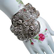 Vintage Vargas Flower Wide Hinged Cuff Clamper Bracelet