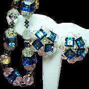 Vintage Vendome Caribbean Blue Cubes Faceted Crystal Beads Choker Necklace Earrings Demi Parure