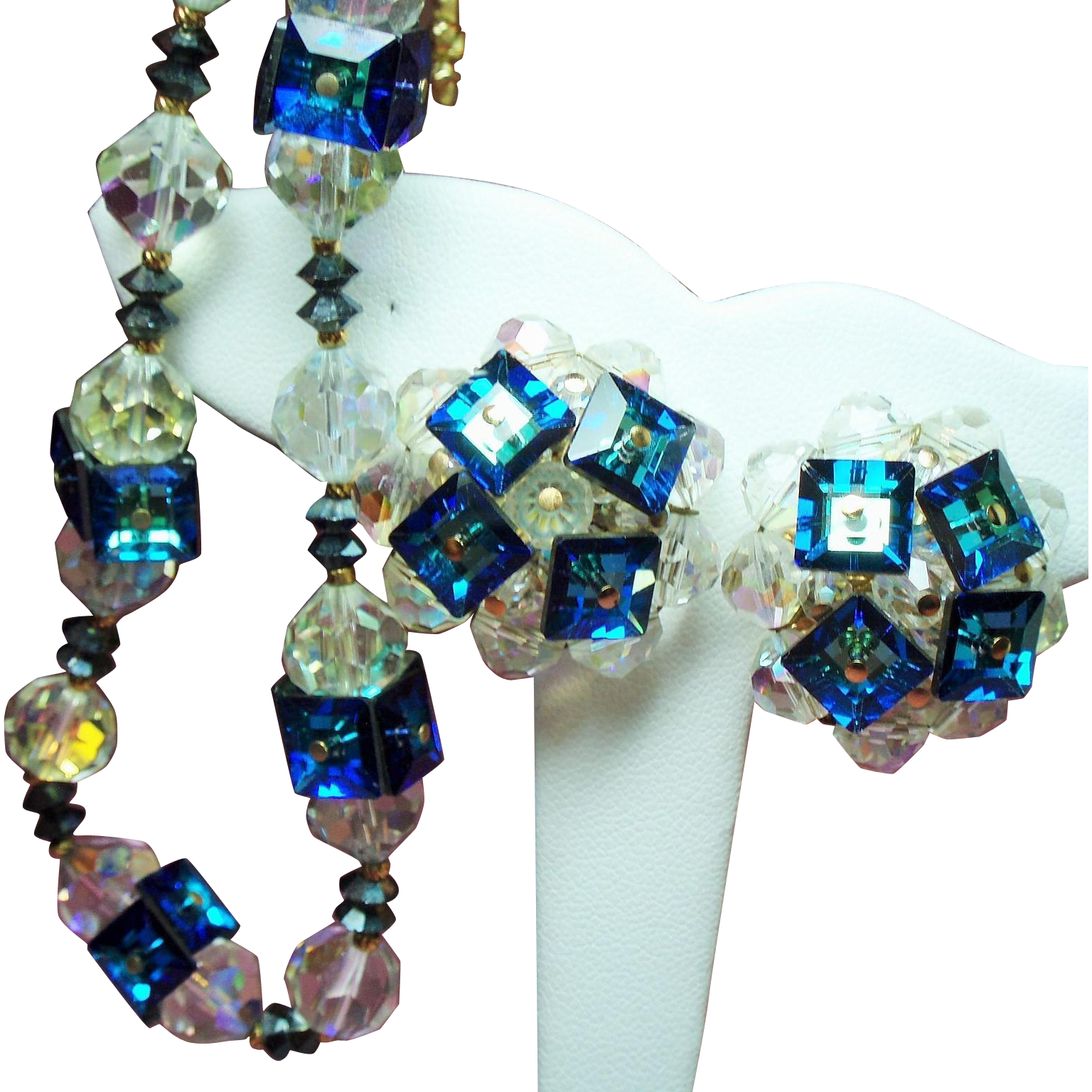 Vintage Vendome Caribbean Blue Cubes Faceted Crystal Beads Choker Necklace Earrings Demi Parure