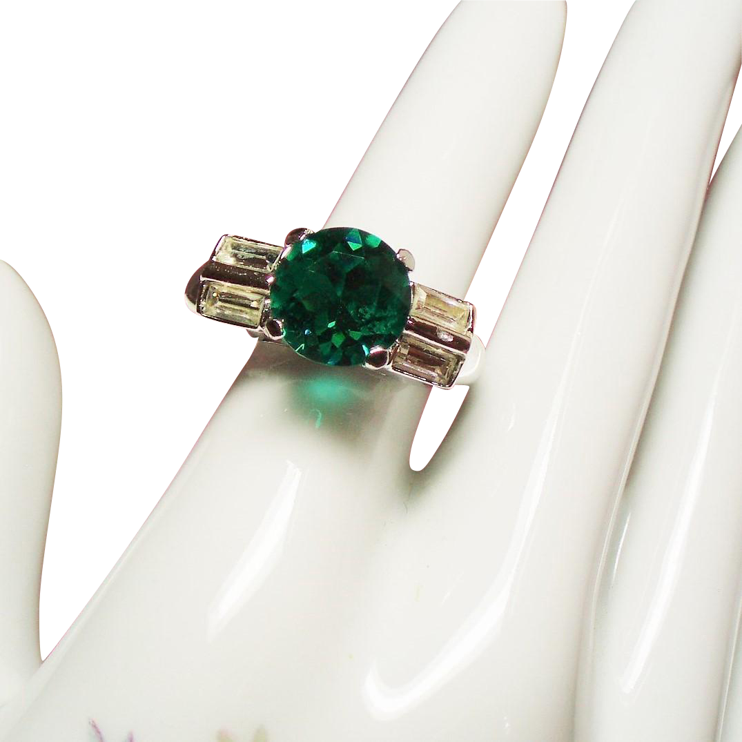 Vintage Vendome Faux Emerald Diamond Baguette Rhinestone Adjustable Ring