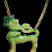 Vintage Vendome Lucite Large Green Foo Dog Necklace