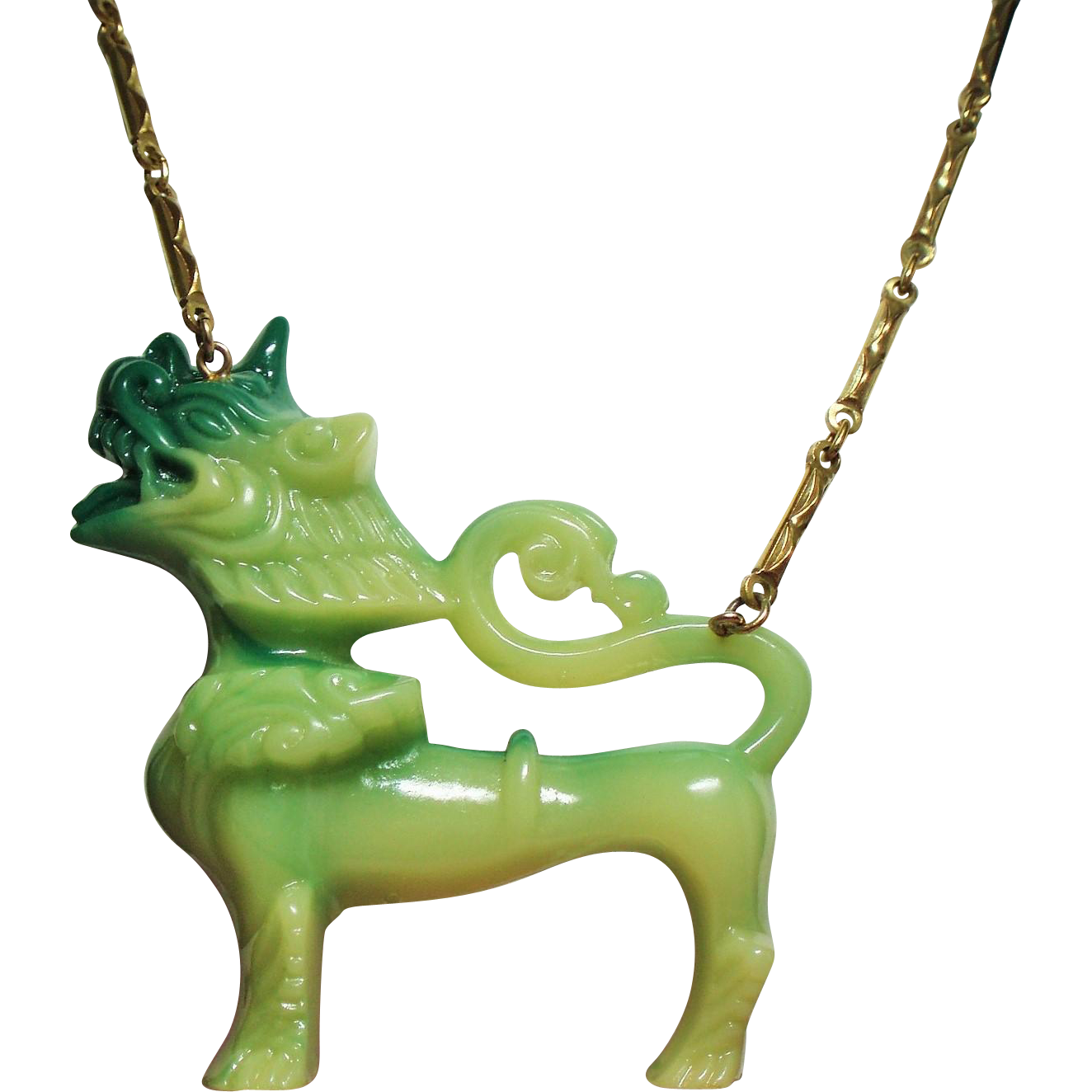Vintage Vendome Lucite Large Green Foo Dog Necklace