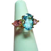 Vintage Genuine Blue Topaz Rose Pink Ice Three Stone Sterling Vermeil Ring