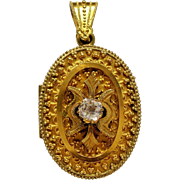 Antique Victorian Etruscan Revival Gold Filled Locket Paste Stone