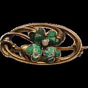 Antique Victorian Enamel Four Leaf Clover Pin