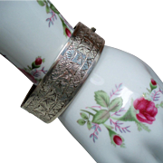 Antique Victorian English Ivy Sterling Bangle Bracelet