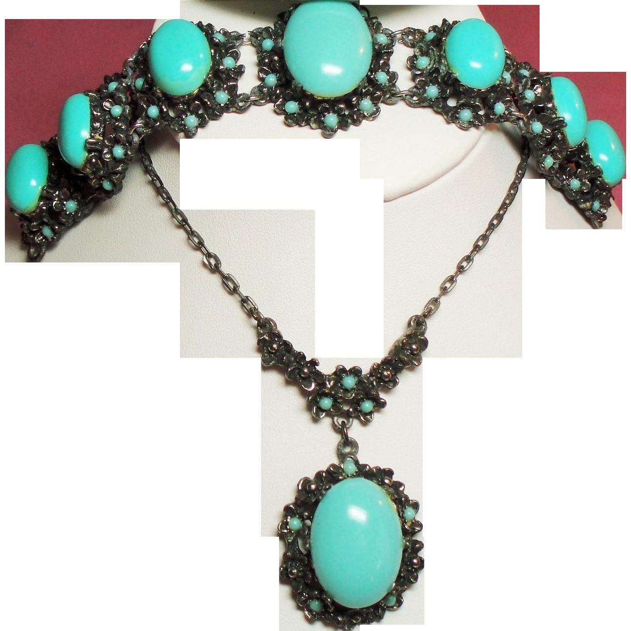 Vintage Victorian Revival Large Faux Turquoise Cabochon Stone Pendant Necklace Bracelet Demi Parure