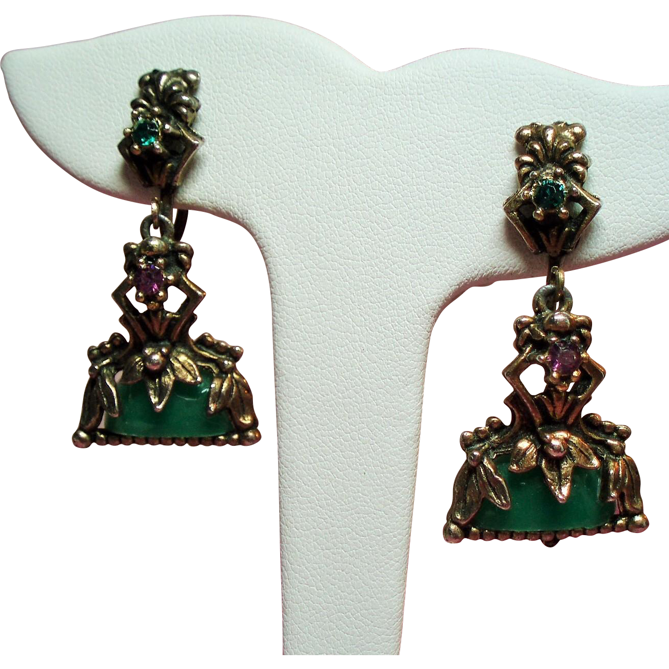 Vintage Victorian Revival Green Glass Drop Earrings