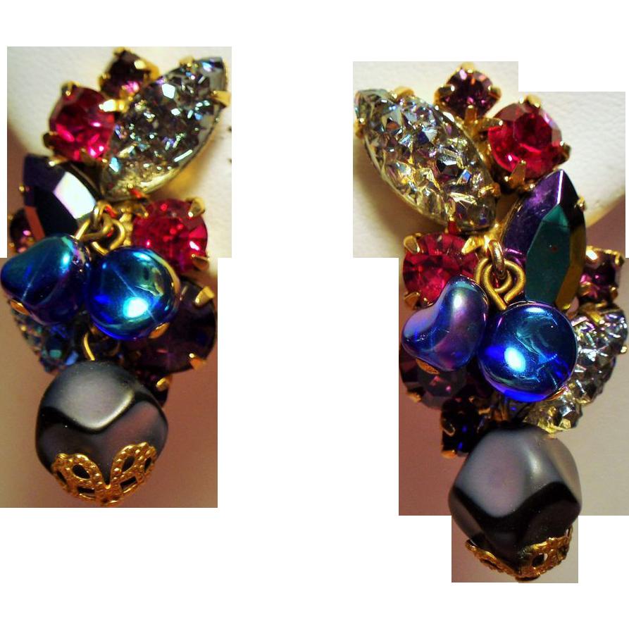 Vintage Sugary Art Glass Violet Raspberry Rhinestone Drippy Bead Climbing Earrings