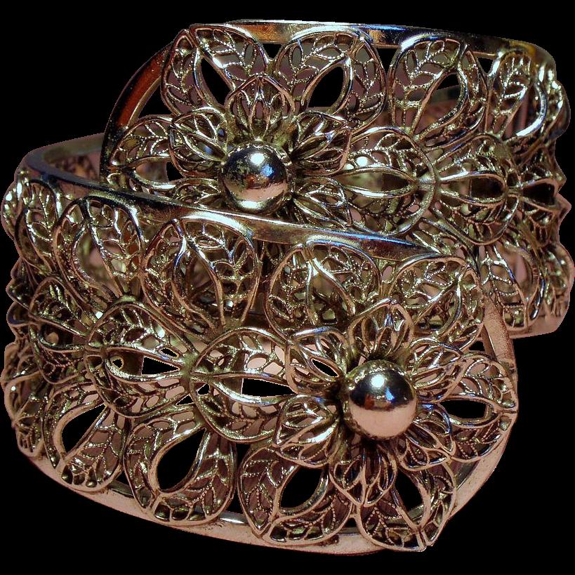 Vintage Vargas Filigree Flower Huge Statement Clamper Bracelet