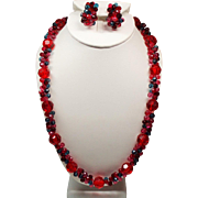 Vintage West Germany Faceted Berry Red Lucite Bead Long Necklace Cluster Earrings Set