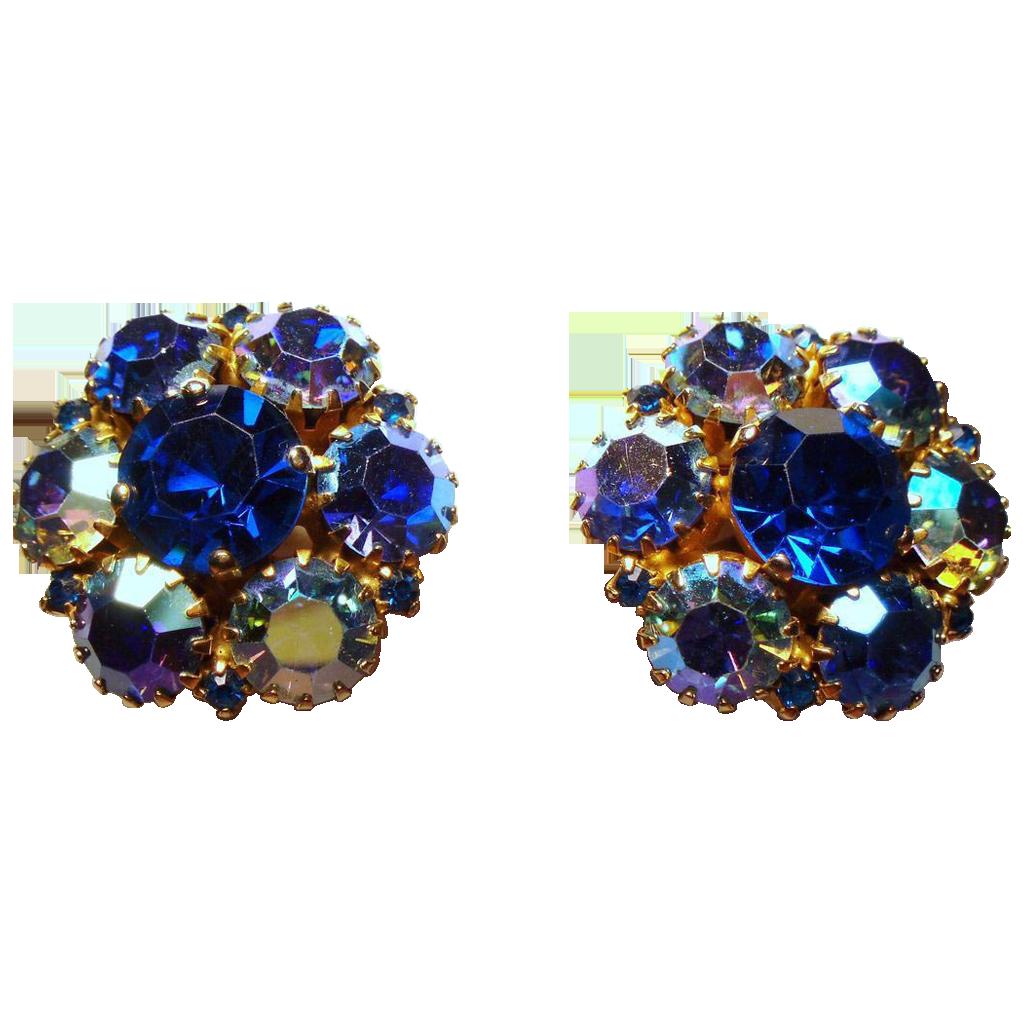 Vintage Warner Royal Blue Aurora Borealis Rhinestone Cluster Earrings