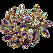 Vintage Weiss Aurora Borealis Navette Rhinestone Brooch