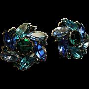 Vintage Weiss Shades of Caribbean Blue Navette Rhinestone Earrings