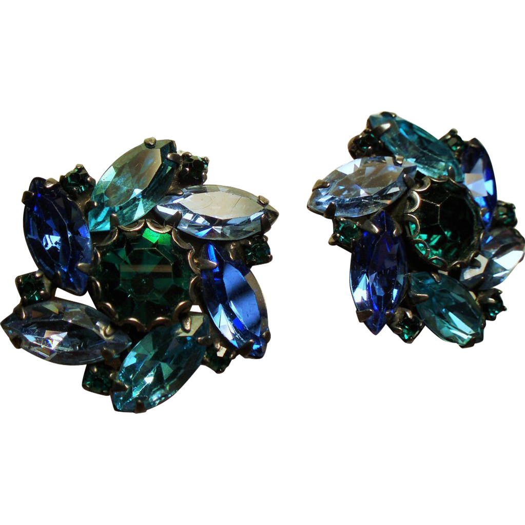 Vintage Weiss Shades of Caribbean Blue Navette Rhinestone Earrings