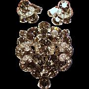 Vintage Weiss Black Diamond Iced Rhinestone Brooch Pierced Earrings Demi Parure