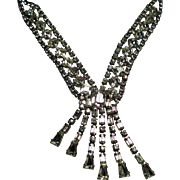 Vintage Weiss Clear Rhinestone Cascading Necklace
