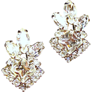 Vintage Weiss Clear Square &  Navette Rhinestone Earrings