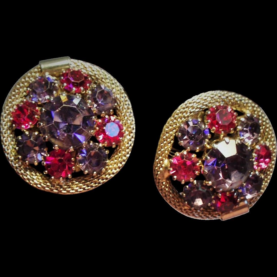 Vintage Weiss Fuchsia Violet Rhinestone Earrings