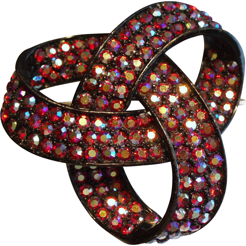 Vintage Weiss Red Aurora Borealis Rhinestone Japanned Bow Knot Brooch