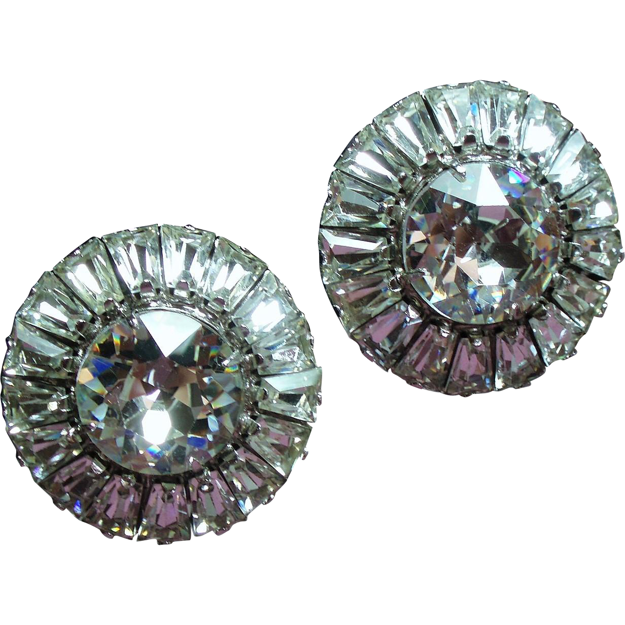 Vintage Weiss Huge Round Crystals Trapezoid Rhinestone Earrings