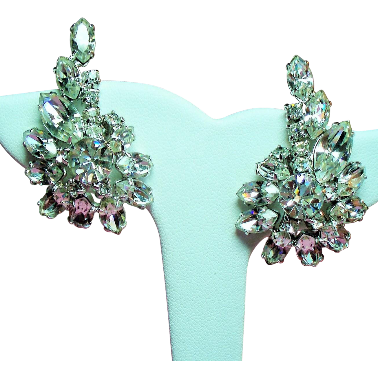 Vintage Weiss Clear Navette Rhinestone Climbing Earrings
