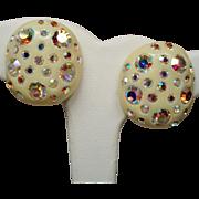 Vintage Weiss Thermoset Aurora Borealis Rhinestone Earrings