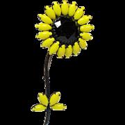 Vintage Weiss Rhinestone Huge Ruffled Sunflower Black Japanned Brooch