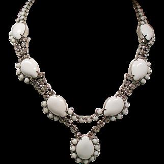 Vintage Elegant White Milk Glass Pear Rhinestone Necklace