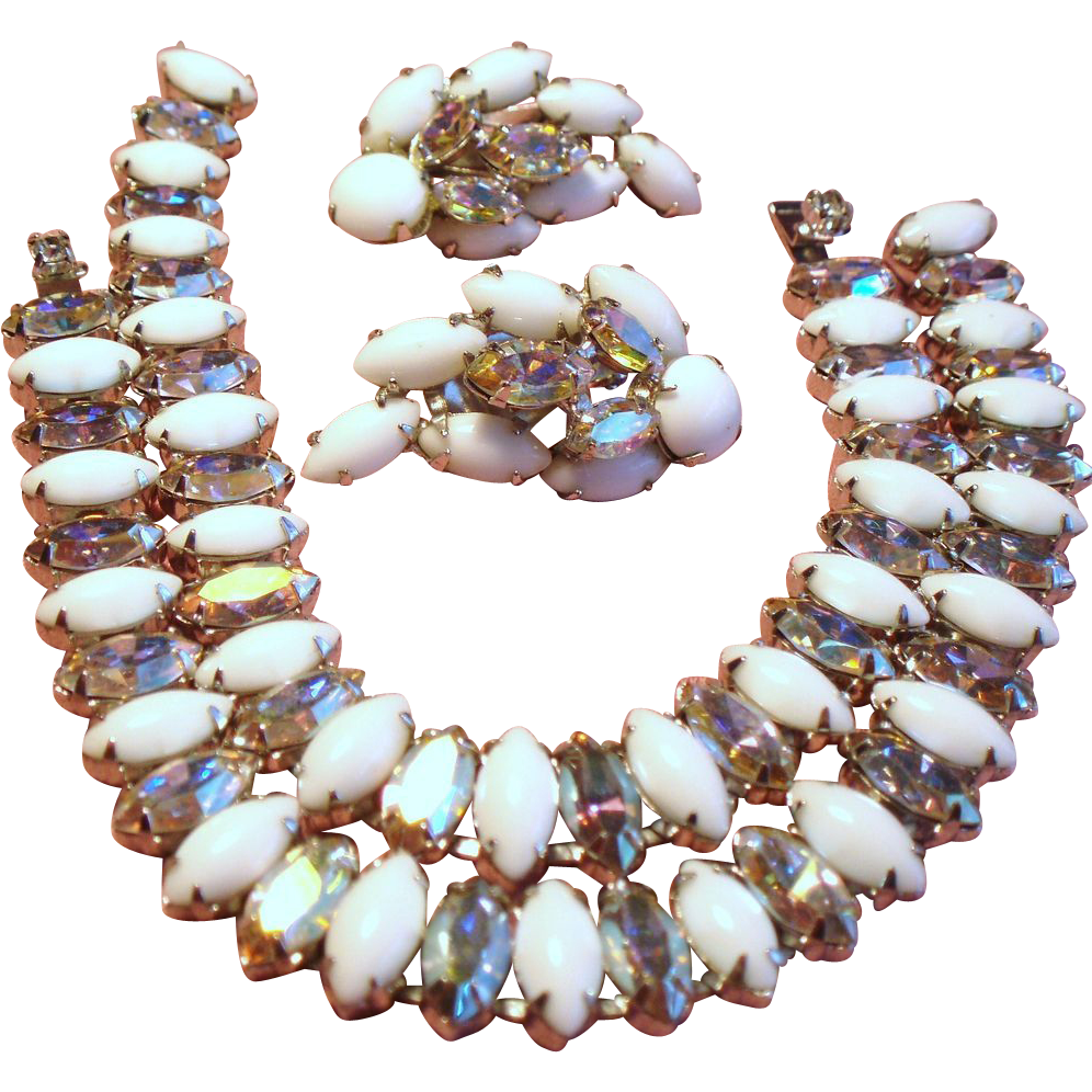 Vintage White Navette Rhinestone Twin Bracelets Earrings Demi Parure