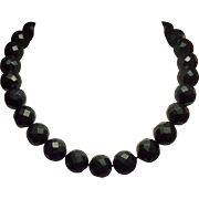 Antique Victorian Mourning Jewelry Whitby Jet Large Faceted Bead Necklace