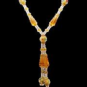 Vintage Art Deco Venetian Glass Bead Long Sautoir Necklace