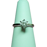 Vintage .75 Carat Diamond Solitaire 14K White Gold Engagement Ring