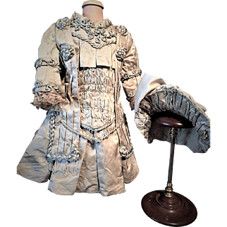 Antique Doll Couture ONE OF A KIND Costume Superb and Elegant Hand Made For Jumeau, Bru, Steiner, Schmitt, Gaultier and other Fine French and German  Dolls
