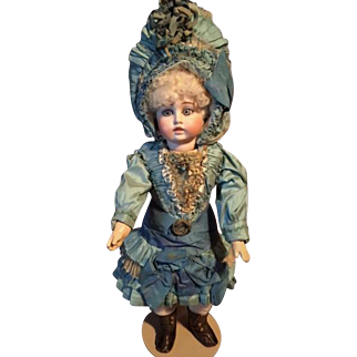Antique Doll Bru Circle Dot BELTON Type Stunning With An Amazing Antique COUTURE DRESS AND BONNET With Markings
