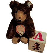 Vintage Miniature Steiff Teddy Baby Bear, ORIGINAL with Button and TAGS 3 ½ Inches Collectibles