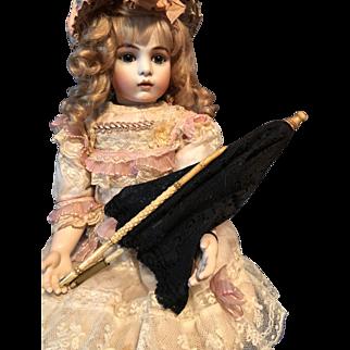 Antique Doll Child Parasol With  UNIQUE Folding MECHANISM