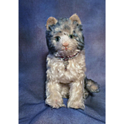 ANTIQUE STEIFF CAT BLUE TIP MOHAIR MUSEUM QUALITY Circa. 1900's