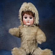 ANTIQUE  Bisque Doll Teddy Bear Completely  Original 1905-08 MUST SEE