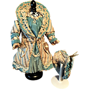 "Marvelous French Couture Antique SILK COSTUME with  Matching BONNET for Jumeau Bru Steiner Schmitt Gaultier French or German doll about  14"" / 15"" (36-38 cm)"