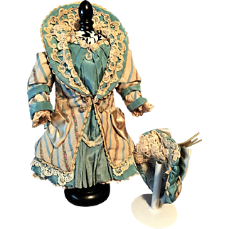 "Marvelous Couture Antique SILK COSTUME with  Matching BONNET for Jumeau Bru Steiner Schmitt Gaultier French or German doll about  14"" / 15"" (36-38 cm)"
