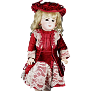 """Amazing French Couture Burgundy Dress and Bonnet Hand Made for a small Jumeau, Bru, Steiner other French and German dolls about 15"""" to 16"""""""