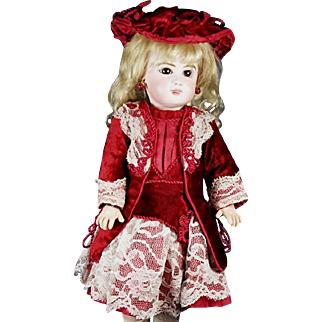 "Amazing Hand Made Couture Burgundy Dress and Bonnet for a small Jumeau, Bru, Steiner other French and German dolls about 15"" to 16"""