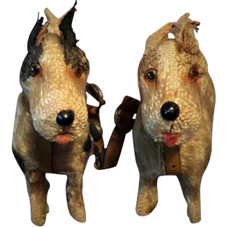 Antique Miniature TWIN FRIPON Fox Terrier Dogs With ORIGINAL LEATHER Tandem Harness 1890/90 For Your Jumeau Bru Steiner Fashion Or Other  FRENCH OR GERMAN DOLL
