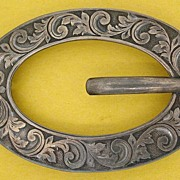 Antique Sterling Silver Engraved Brooch