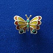 18K & Enamel Butterfly Brooch.