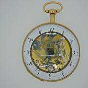 Antique 18K Gold Skeletonized Quarter Repeater Fusee Pocket Watch