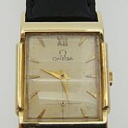 Omega 14K Gold Tank Style Wristwatch circa 1946