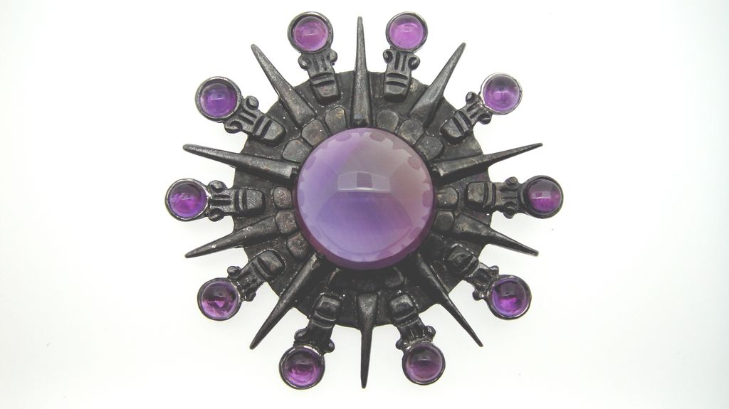 Spratling of Mexico Silson Inc. Genuine Amethyst & Sterling Silver Brooch