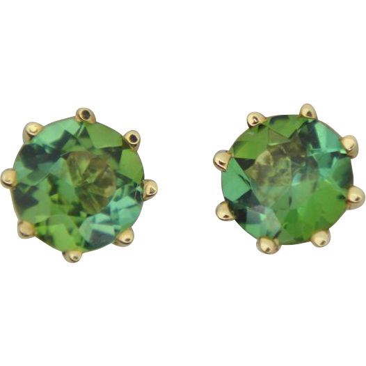 Green Tourmaline Stud Earrings Unique And Antique Collectables Ruby Lane